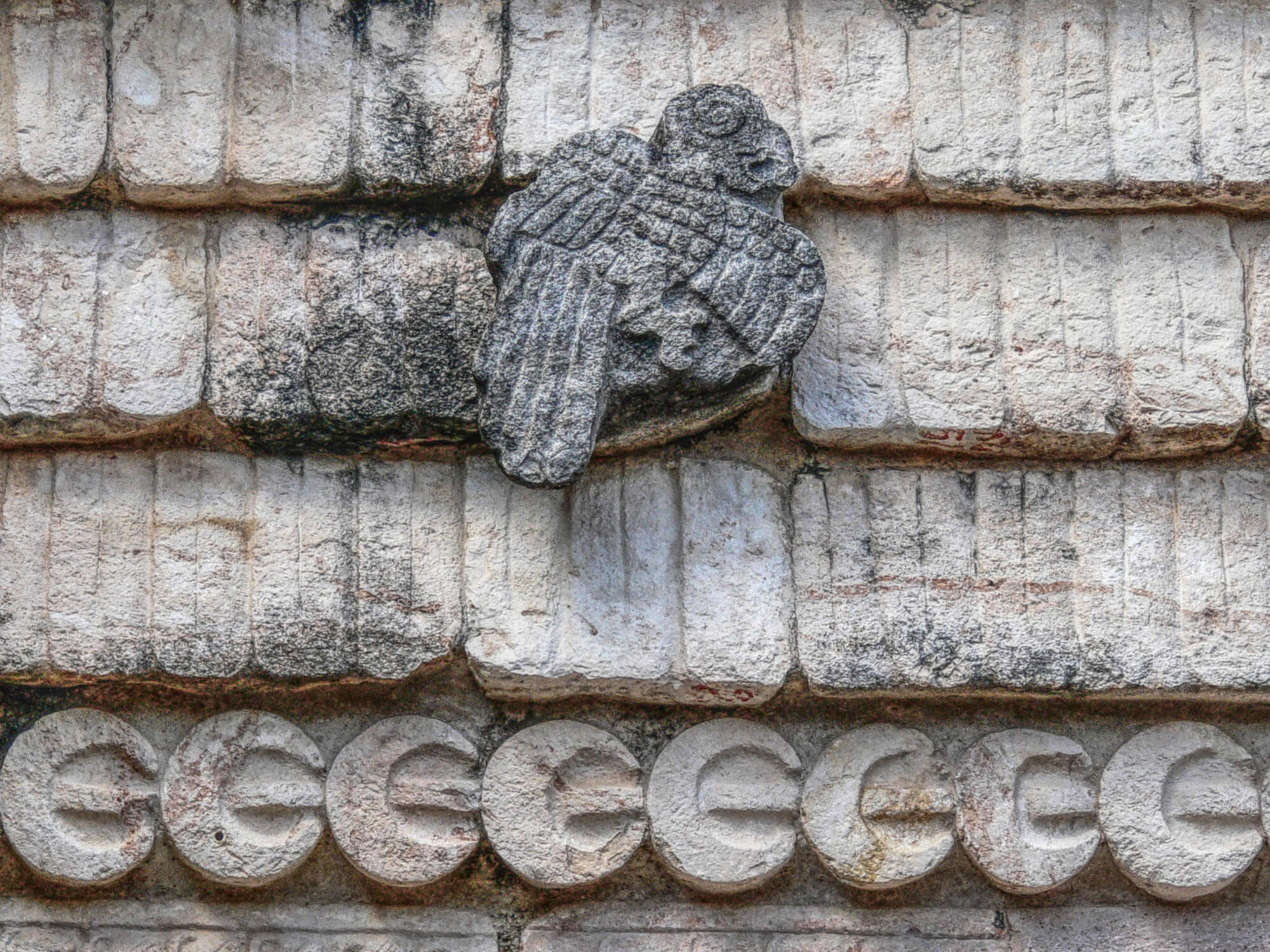A Macaw in the Quadrangle of the Birds east building in Uxmal