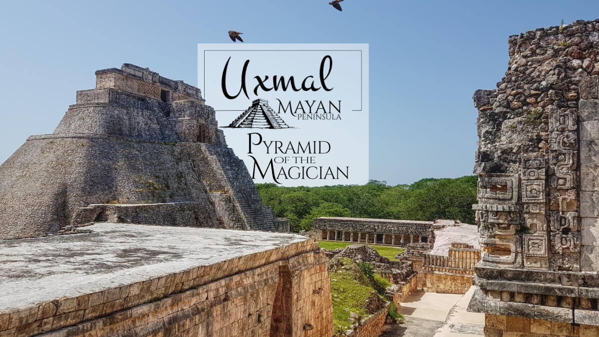 Pyramid of the Magician in Uxmal viewed from the Nunnery entrance