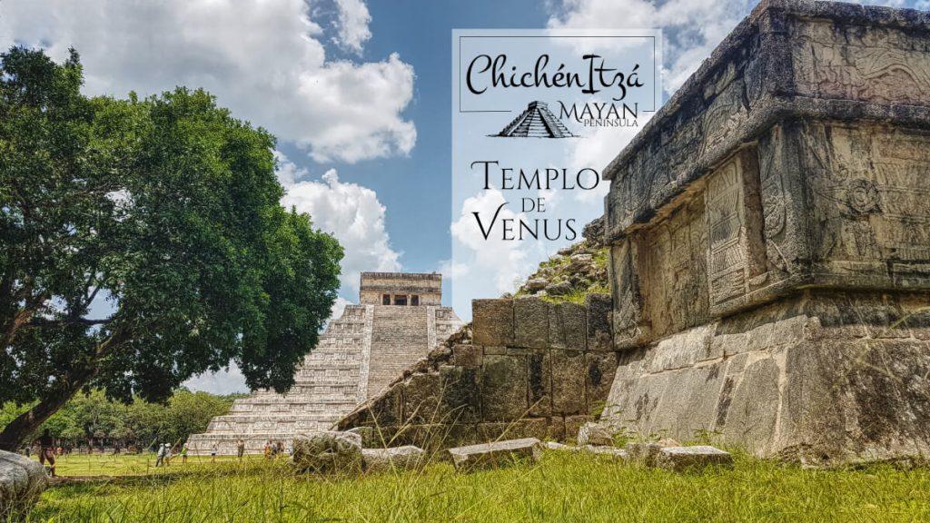Templo de Venus y la Pirámide de Kukulkán en Chichén Itzá