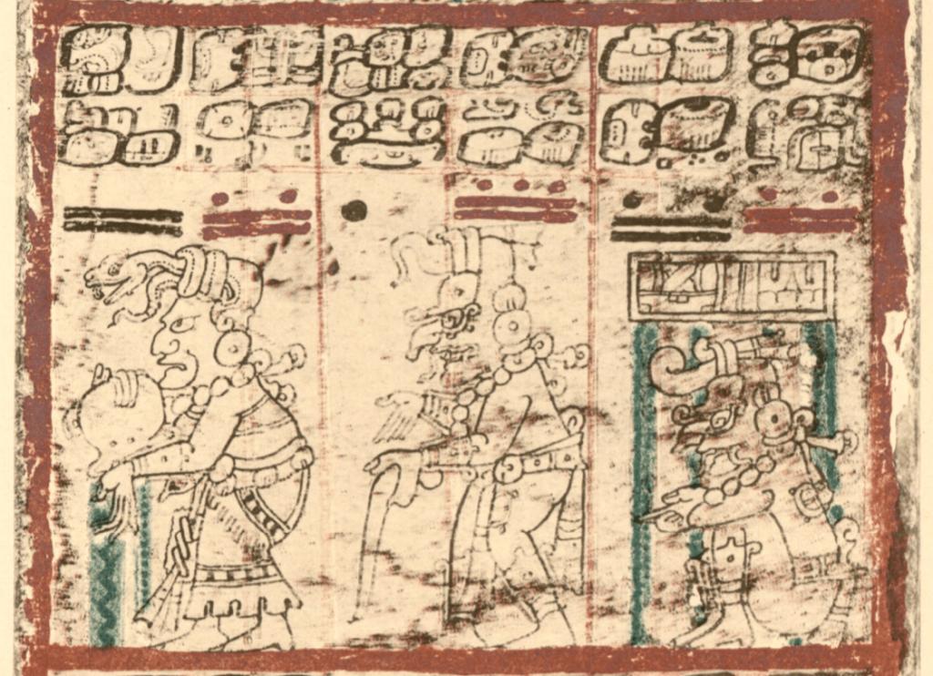 Representación de la diosa Ixchel en el lado izquierdo.