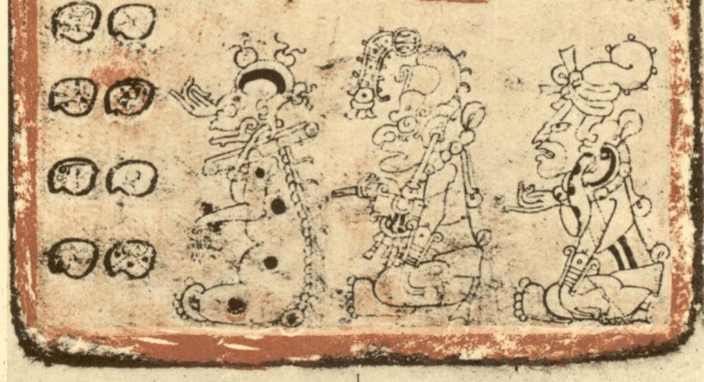 Representación del dios Yum Kimil en el lado izquierdo.